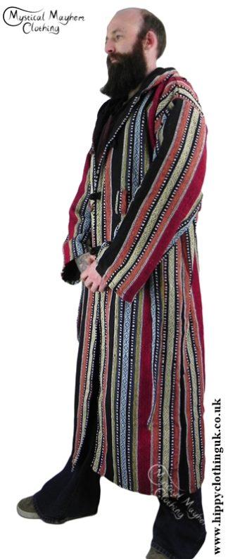Male Long Hippy Coat, Jacket, Jedi Cloak Red, Orange, Yellow, Blue