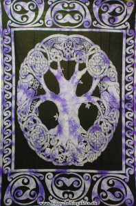Single Celtic Tree Hippy Throw, Bed Spread, Wall Hanging Purple
