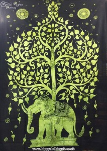 Single Elephant Tree Hippy Throw, Bed Spread, Wall Hanging Green