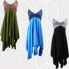 Thai Pixie Hem Blouse Top Dress with printed bust