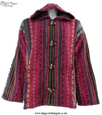 Thick Weave Cotton Hooded Hippy Jacket with Cotton Lining Red