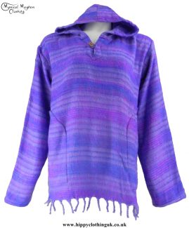 Acrylic Blanket Material Hooded Hippy Top Lilac