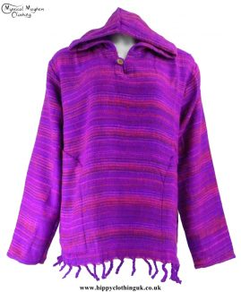 Acrylic Blanket Material Hooded Hippy Top Purple and PInk