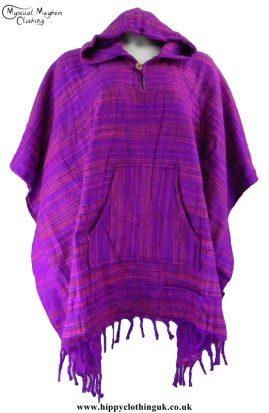 Bares Soft Feel Acrylic Wool Hippy Festival Hooded Poncho Purple