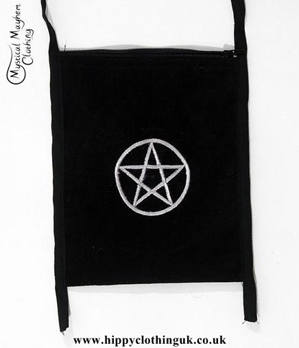 Black Velvet Passport Bag with Pentagram Embroidery