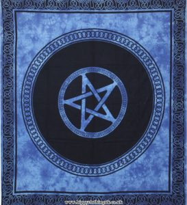 Blue Tie Dye Pentagram Hippy Festival Throw, Bed Spread, Wall Hanging