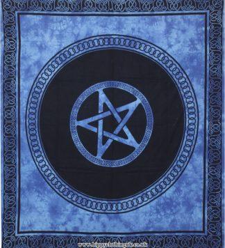Blue Tie Dye Pentagram Hippy Festival Throw, Bed Spread, Wall Hanging