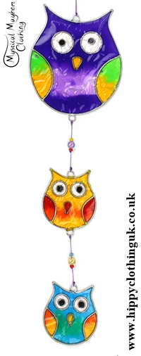 Colourful String fo Owls Suncatcher