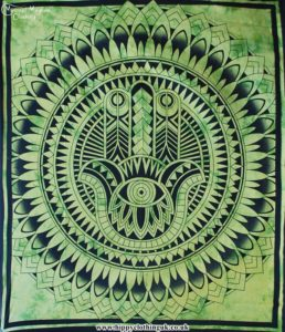 Green Hamsa Hand Cotton Throw, wall hanging, bed spread