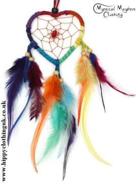 Heart Faux Suede Rainbow Hippy Dreamcatcher