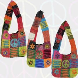 Hippy Peace Sign Patchwork Embroidery Shoulder Bag