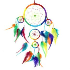 Large-Five-Ring-Round-Rainbow-Hippy-Dreamcatcher-with-Bright-Feathers