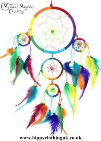 Large Five Ring Round Rainbow Hippy Dreamcatcher with Bright Feathers