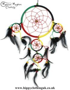 Large Five Ring Round Rasta Hippy Dreamcatcher with Bright Feathers
