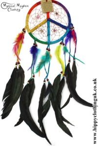Large Round Peace Sign Rainbow Faux Suede Hippy Dreamcatcher with Bright Feathers