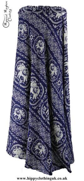 Long Thai Elephant Hippy Wrap Skirt Blue