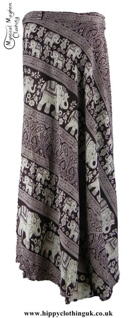Long Thai Elephant Hippy Wrap Skirt Brown