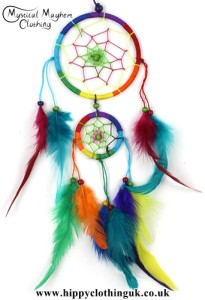 Medium Two Ring Round Rainbow Hippy Dreamcatcher with Bright Feathers