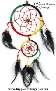 Medium Two Ring Round Rasta Hippy Dreamcatcher with Bright Feathers