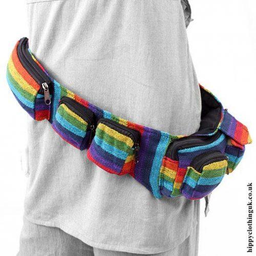 Multicoloured-Rainbow-Hippy-Hip,-Bum-Bag,-Utility-Belt