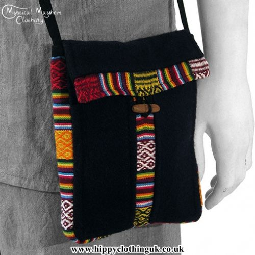 Nepalese Wool and Cotton Tibetan Style Hippy Passport Bag