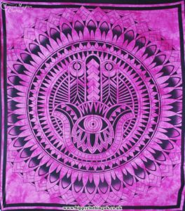 Pink Hamsa Hand Cotton Throw, wall hanging, bed spread