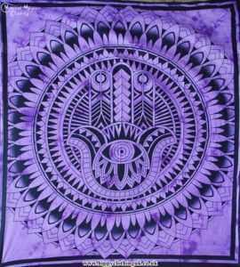 Purple Hamsa Hand Cotton Throw, wall hanging, bed spread