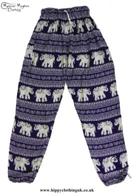 Purple Thai Elephant HIppy Trousers with Elastic Ankle