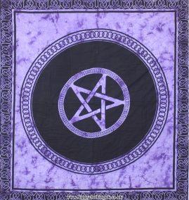Purple Tie Dye Pentagram Hippy Festival Throw, Bed Spread, Wall Hanging
