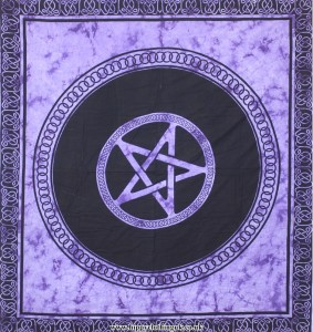 Purple Tie Dye Pentagram Hippy Festival Throw, Bed Spread, Wall Hanging