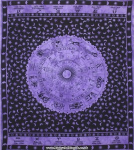 Purple Zodiac Star Sign Tie Dye Hippy Throw, Wall Hanging, Bed Spread