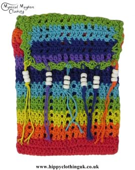 Rainbow Crochet Hippy Passport Bag