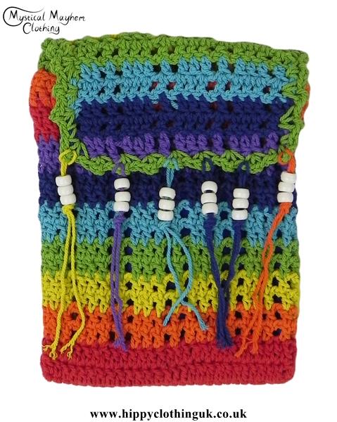 Rainbow Crochet Hippy Passport Bag