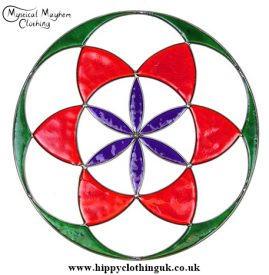 Seed of Life Suncatcher Green, Red, Purple 2