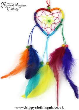 Small Rainbow Love Heart Hippy Dreamcatcher with Bright Feathers