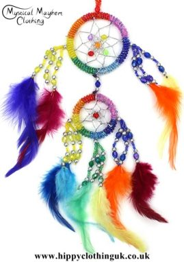 Small Round Rainbow Beaded Hippy Dreamcatcher with Bright Feathers
