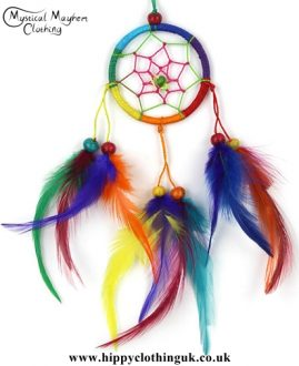 Small Round Rainbow Hippy Dreamcatcher with Bright Feathers