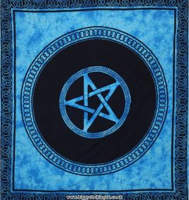 Turquoise Tie Dye Pentagram Hippy Festival Throw, Bed Spread, Wall Hanging