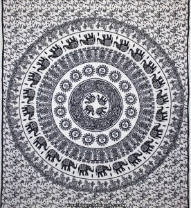 White Elephant Mandala Throw, Bed Spread, Wall Hanging