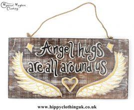 'Angel hugs are all around us' Handmade Wooden Plaque
