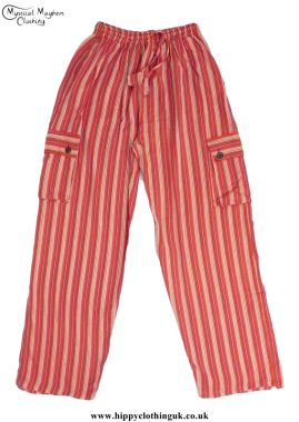 Bares Striped Cotton Nepalese Trousers Orange