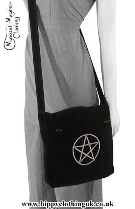 Black Shoulder Bag with Pentagram Embroidery