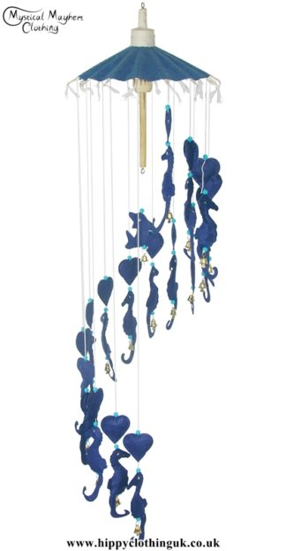 Blue Sea Horses and Hearts Saa Paper Hippy Mobile with Bells