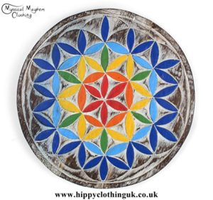 Colourful Flower of Life Handmade Wooden Plaque