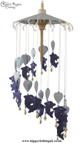 Dolphin and Heart Saa Paper Hippy Mobile with Bells