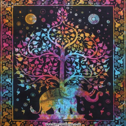 Funky Elephant and Tree Indian Cotton Hippy Throw, Wall Hanging, Bed Spread
