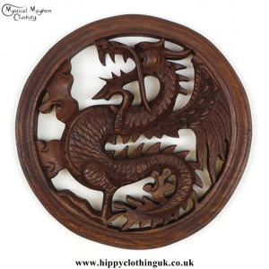 Hand Carved Round Wooden Dragon Plaque