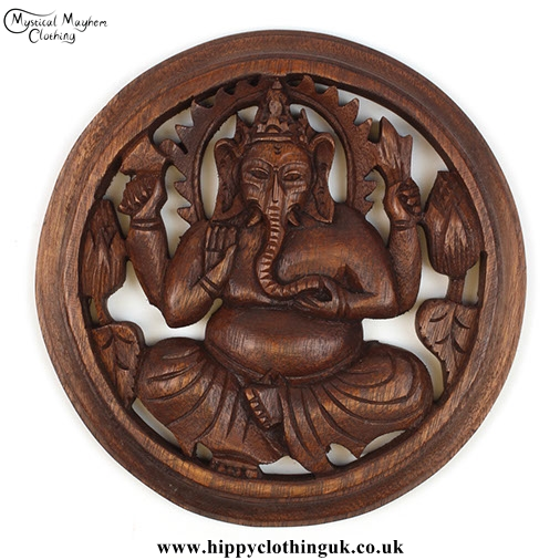 Round Carved Ganesh Handmade Wooden Hanging Plaque