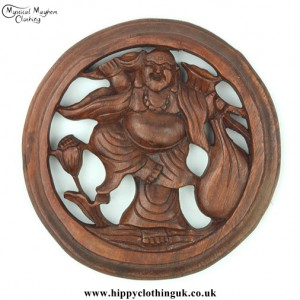 Hand Carved Round Wooden Laughing Buddha Plaque