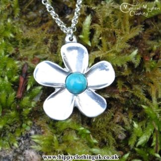 Handmade English Pewter Buttercup Flower Pendant, Necklace